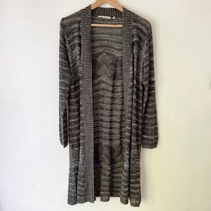 SOFT SURROUNDINGS Gray Long Knitted Cardigan